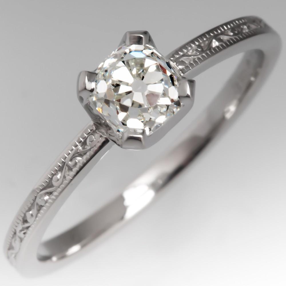 GIA Old Mine Cut Diamond Engagement Ring Jabel Engraved Wedding Band