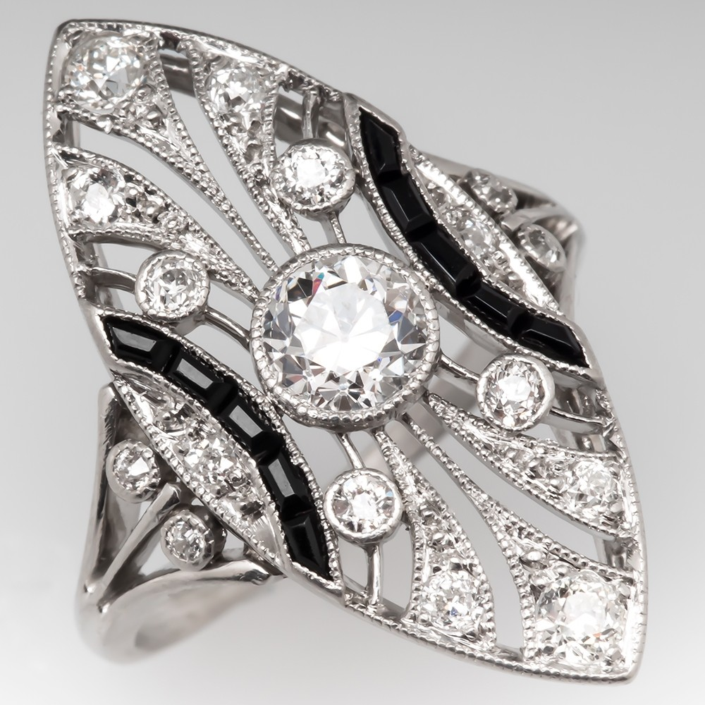 Amazing Art Deco Diamond & Onyx North to South Filigree Ring Platinum