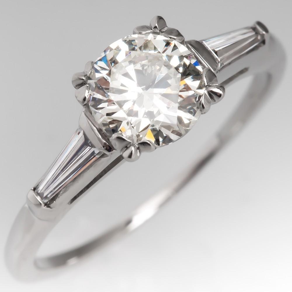 Vintage 1 Carat Round Brilliant Diamond Engagement Ring Fishtail Head w/ Baguettes Platinum