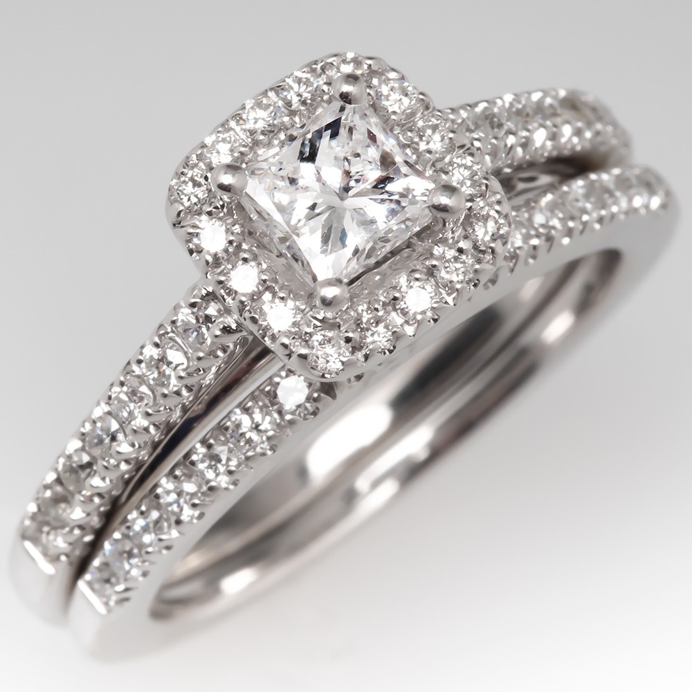 Princess Cut Diamond Halo Engagement Ring Wedding Set 14K