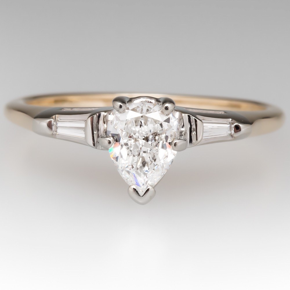 Vintage Pear Diamond Engagement Ring w/ Tapered Baguettes