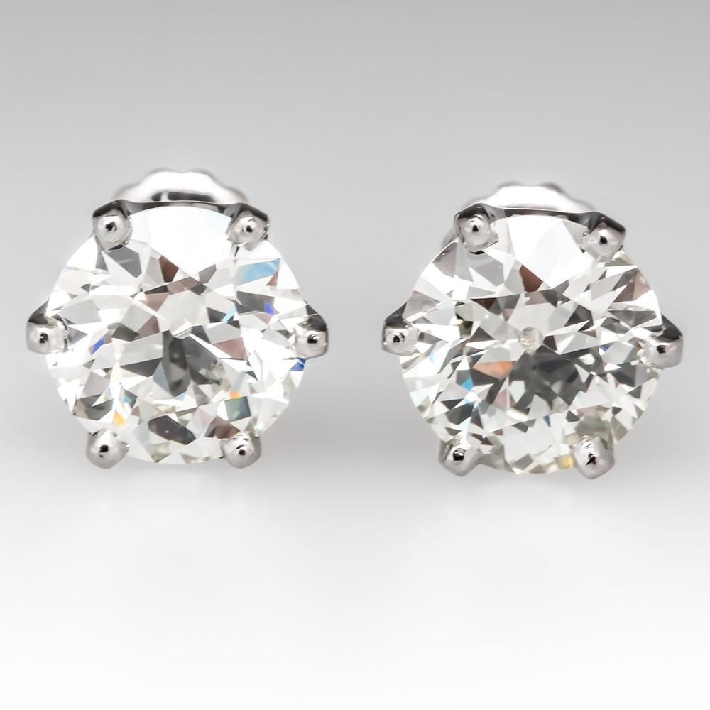 3.92CTW Old European Cut Diamond Stud Earrings Platinum Crowns