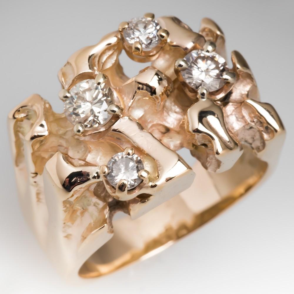 Vintage Mens Nugget Motif Diamond Ring 14K Gold