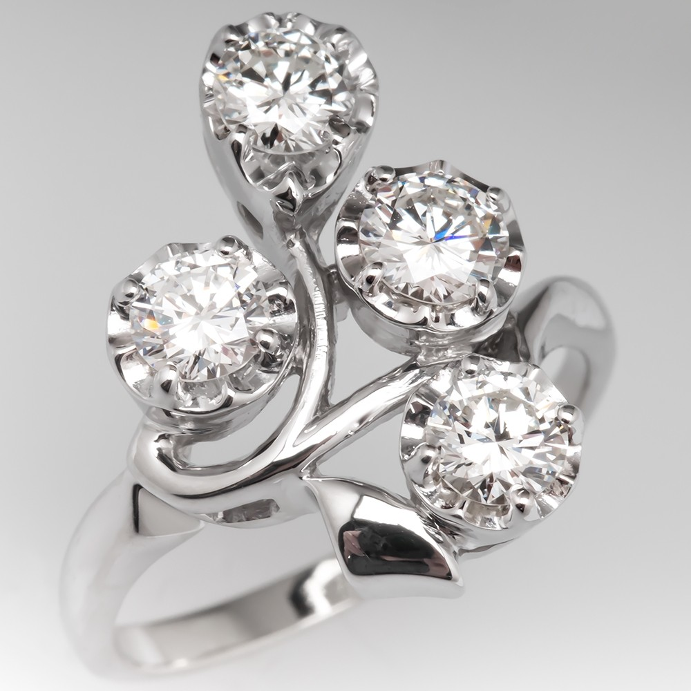 1.32CTW Vintage Floral Diamond Cluster Ring 14K White Gold