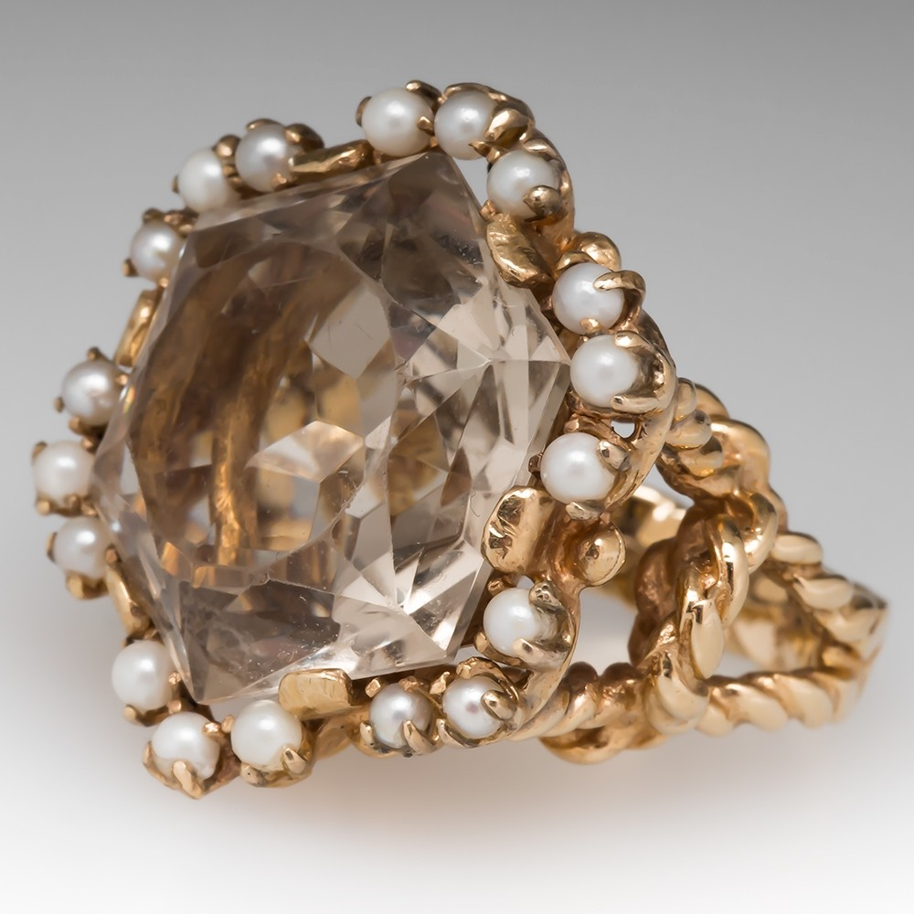Vintage Cocktail Ring w/ Smoky Quartz & Seed Pearls 14K Gold