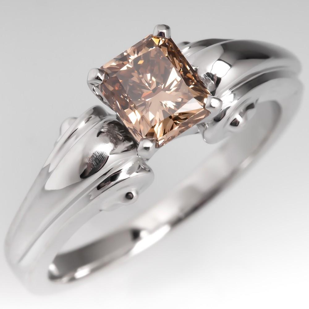 Fancy Brown Princess Cut Diamond Engagement Ring