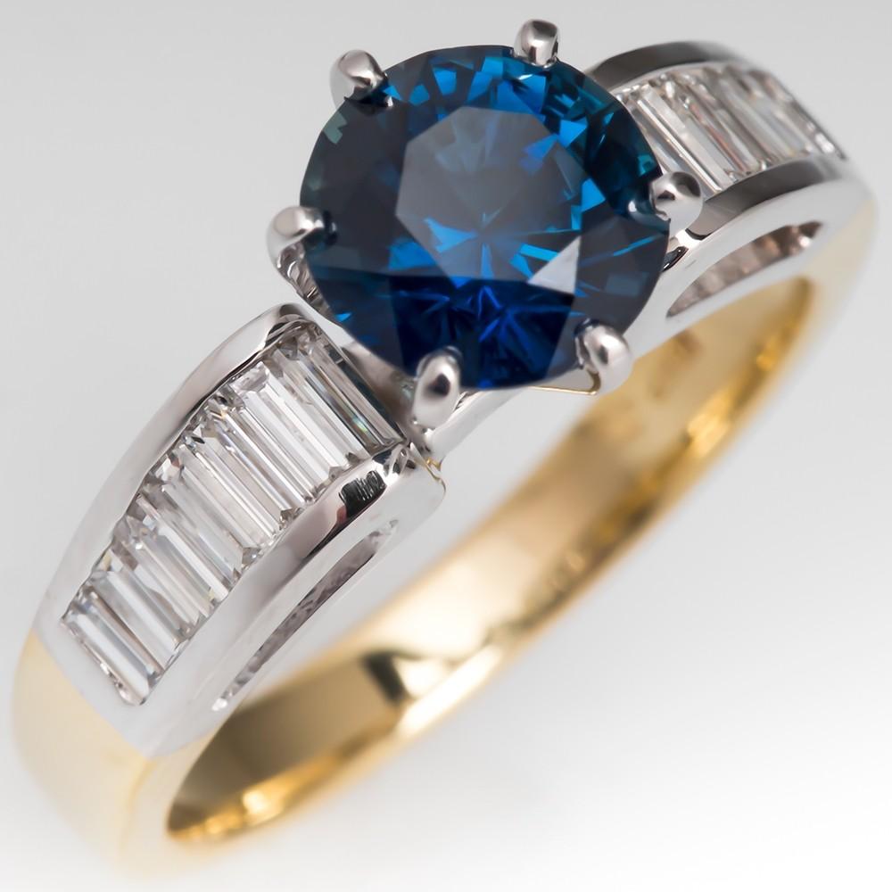 No Heat Rich Peacock Sapphire Engagement Ring w/ Diamonds 18K