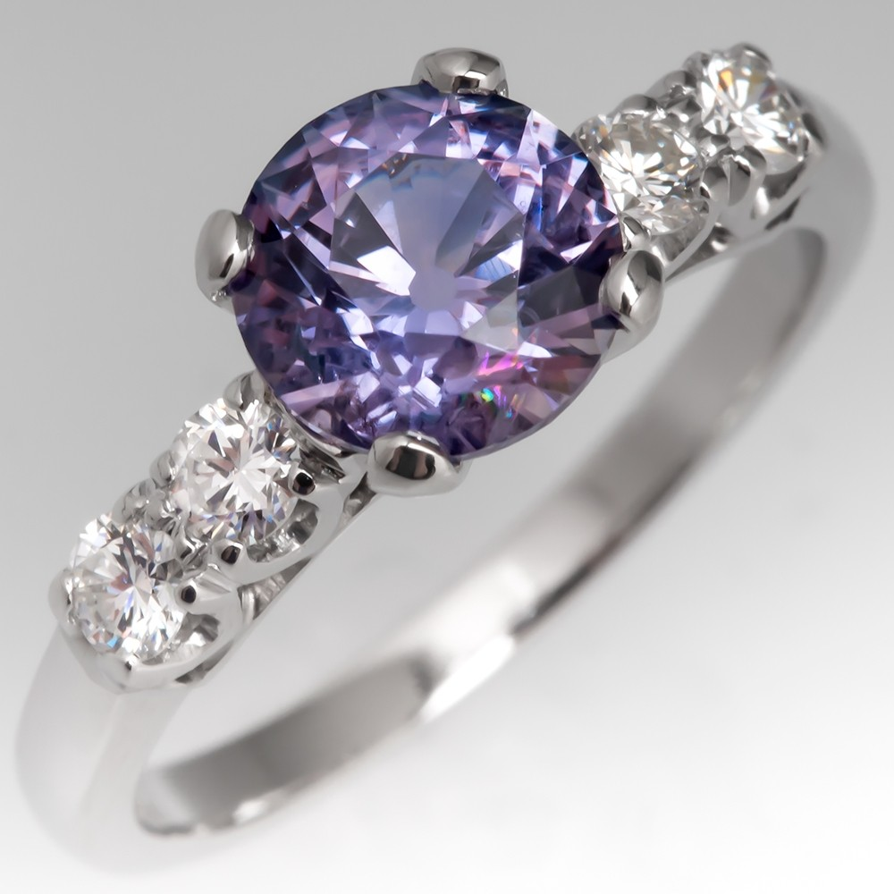 Montana No Heat Violet Sapphire Engagement Ring Vintage Platinum Mount