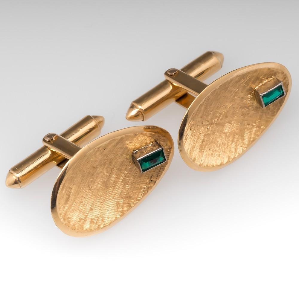Vintage Emerald Cufflinks 18K Yellow Gold Textured Finish