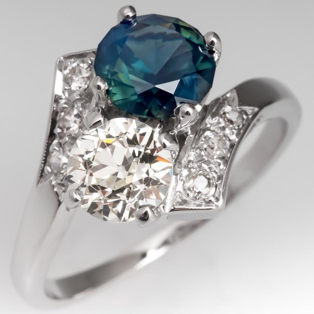 Vintage No Heat Sapphire & Old Euro Diamond Bypass Ring 14K