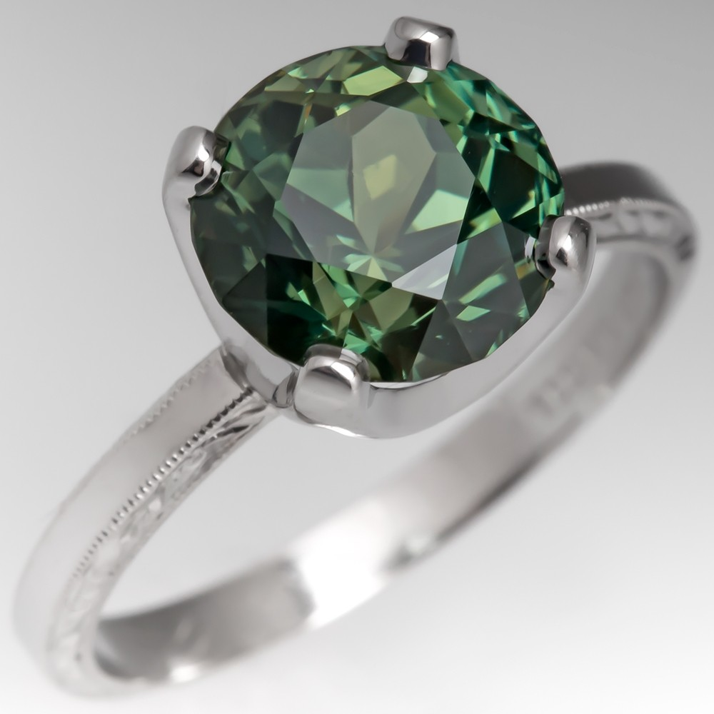 No Heat 4 Carat Rich Green Sapphire Engagement Ring Platinum