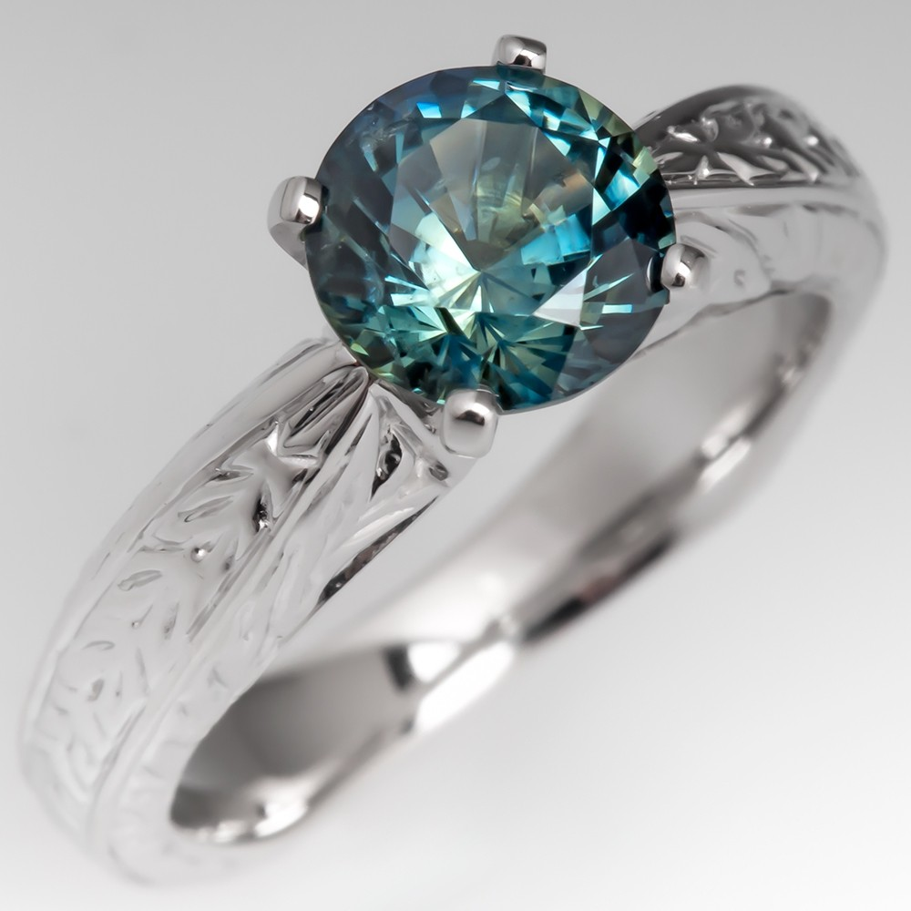 Vibrant No Heat Blue Green Sapphire Solitaire Engagement Ring Engravings 14K