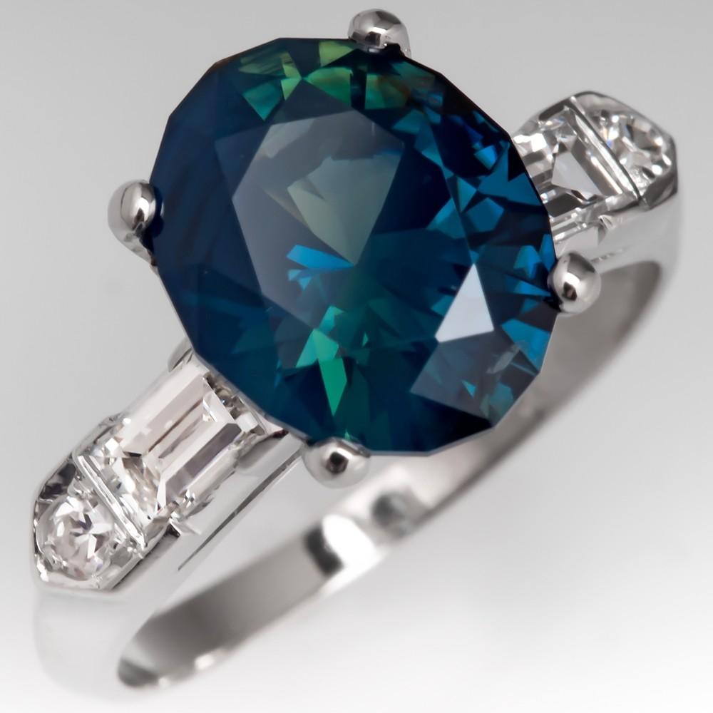 3.8 Carat Rich No Heat Teal Sapphire Engagement Ring 1950's Platinum Mount