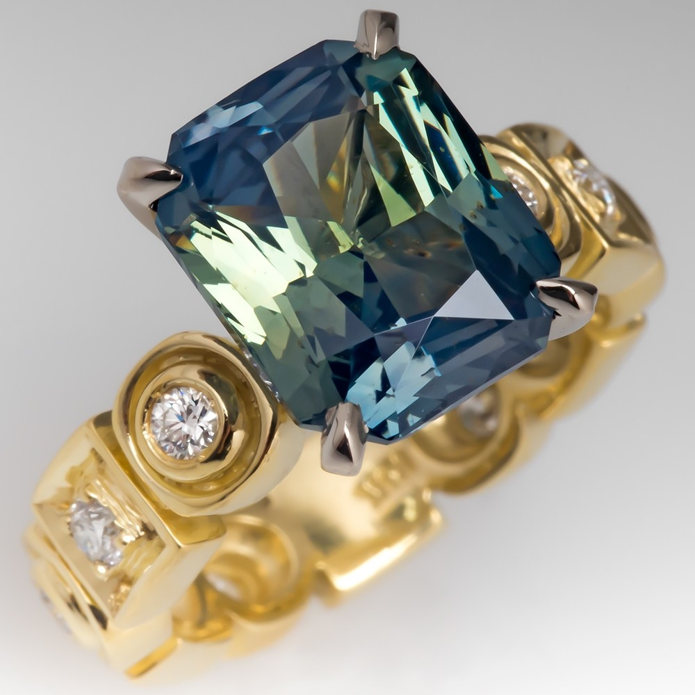 6 Carat No Heat Blue Green Sapphire Cocktail Ring 18K Gold