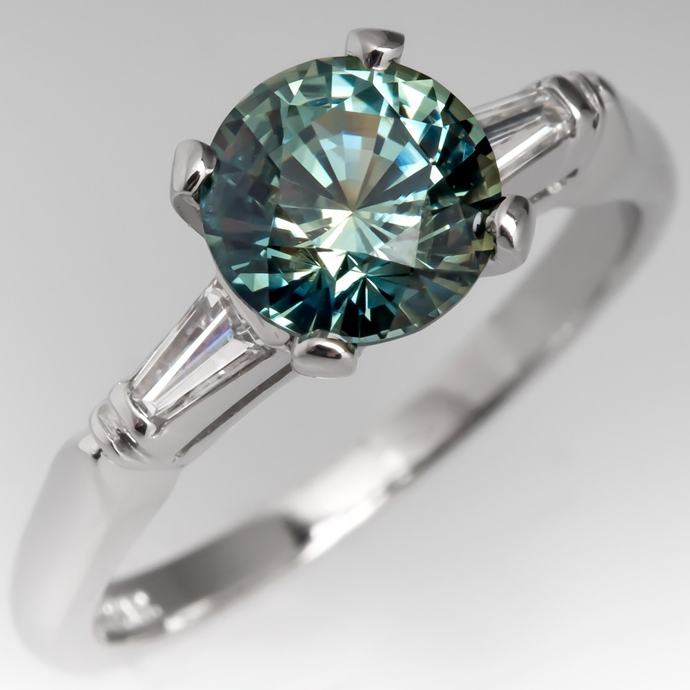 No Heat Bright Icy Blue Green Sapphire Engagement Ring Vintage Platinum Mount