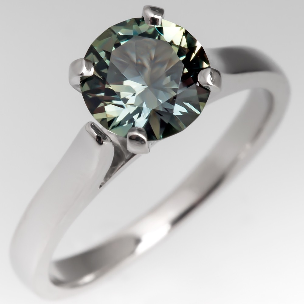 No Heat Vibrant Green Sapphire Engagement Ring Platinum Solitaire
