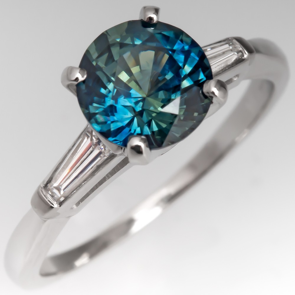 No Heat Vibrant Blue Green Sapphire Engagement Ring 1960's Platinum Mount