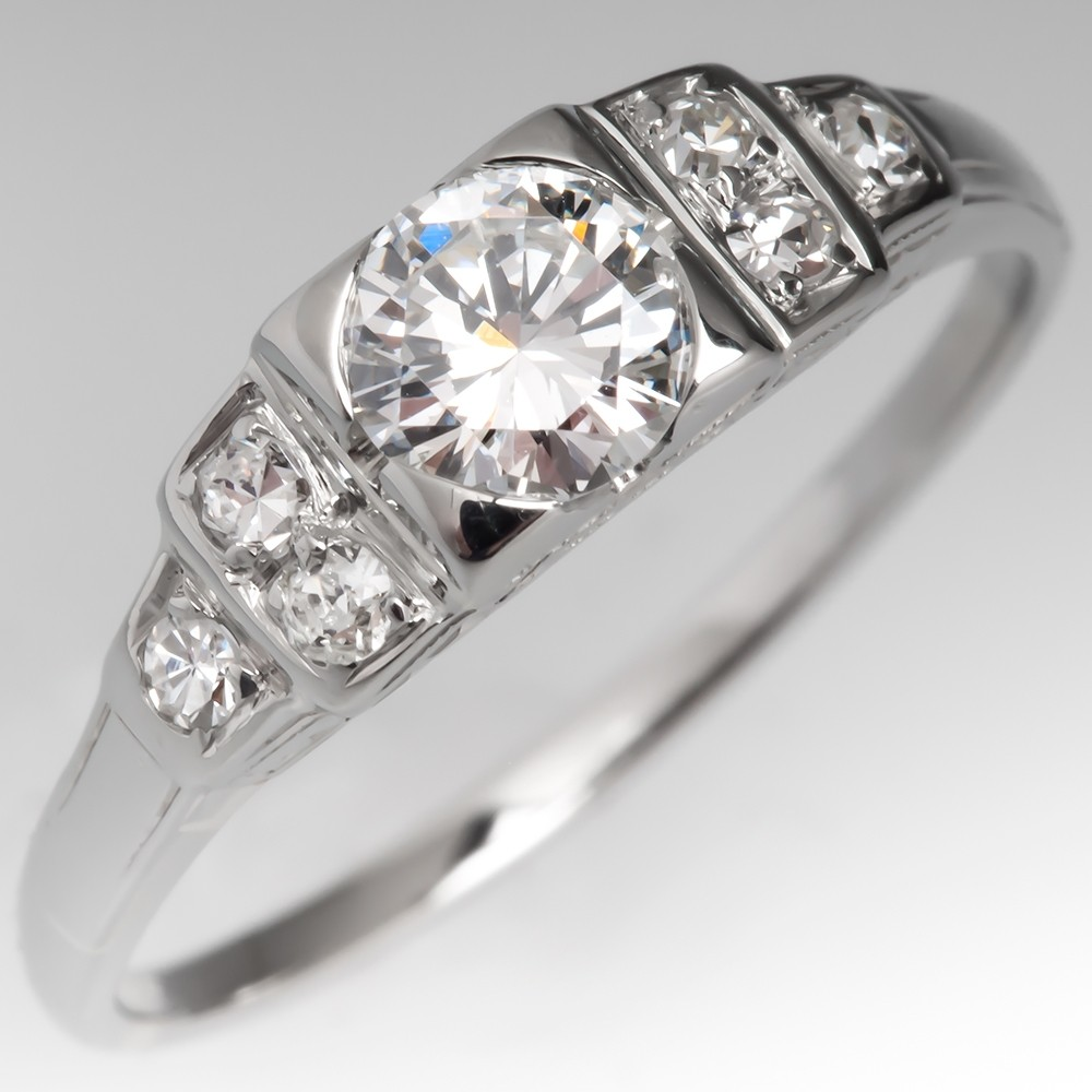 Detailed Vintage 1940's Engagement Ring Round Brilliant Diamond 14K Gold
