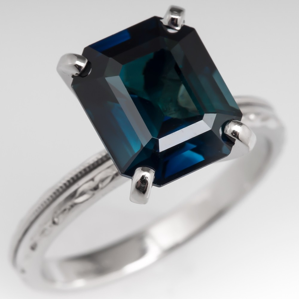 No Heat 3.9 Carat Dark Teal Sapphire Engagement Ring w/ Engravings