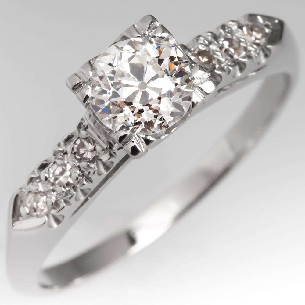 Old European Cut Diamond Antique Engagement Ring Platinum