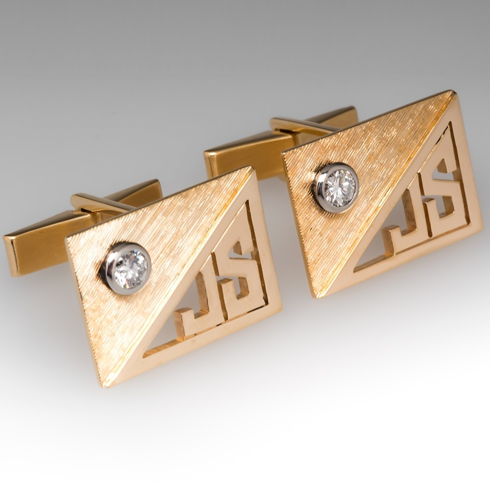 JS Initials Vintage Diamond Cufflinks 14K Yellow Gold