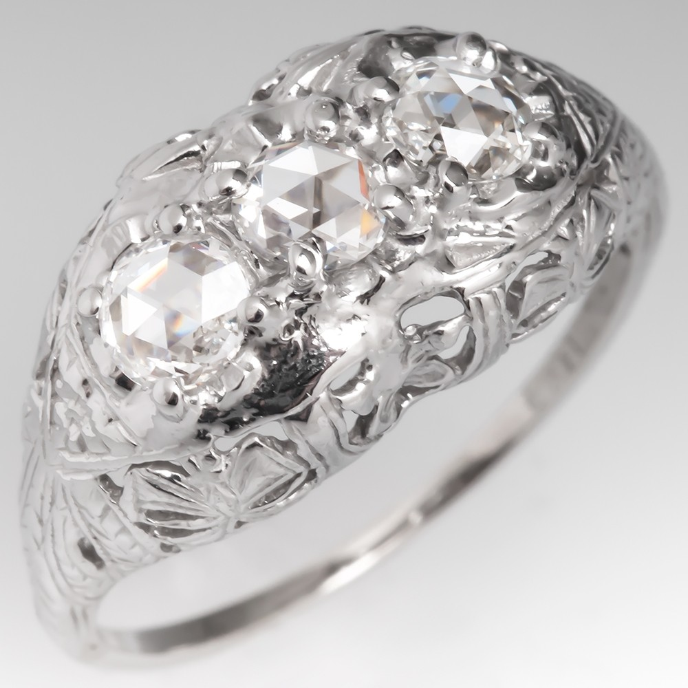 Antique Filigree Rose Cut Diamond Three Stone Ring 14K