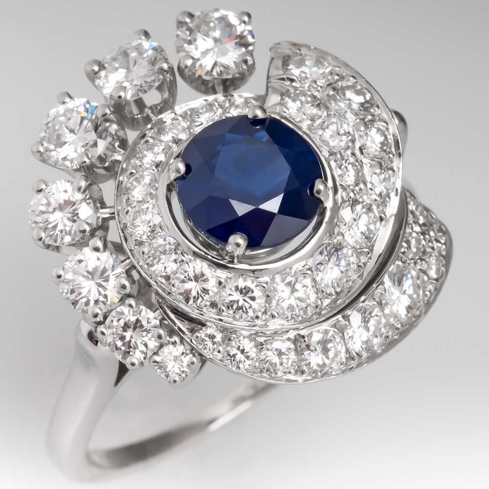 Vintage Dark Blue Sapphire & Diamond Low Profile Cocktail Ring Platinum