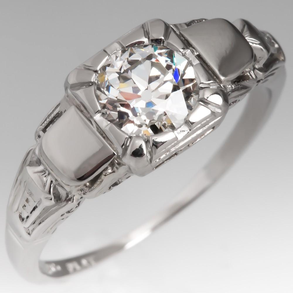 Art Deco .73CT Old Euro Diamond Engagement Ring Platinum Low Profile