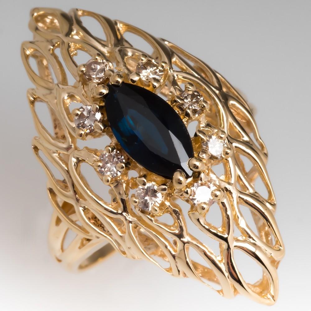 Lightweight Blue Green Marquise Sapphire & Diamond Openwork Cocktail Ring 14K