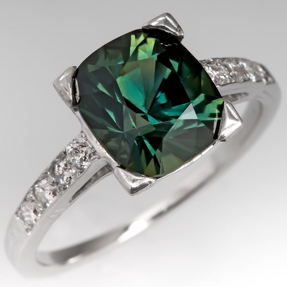 Vibrant Green Sapphire Engagement Ring