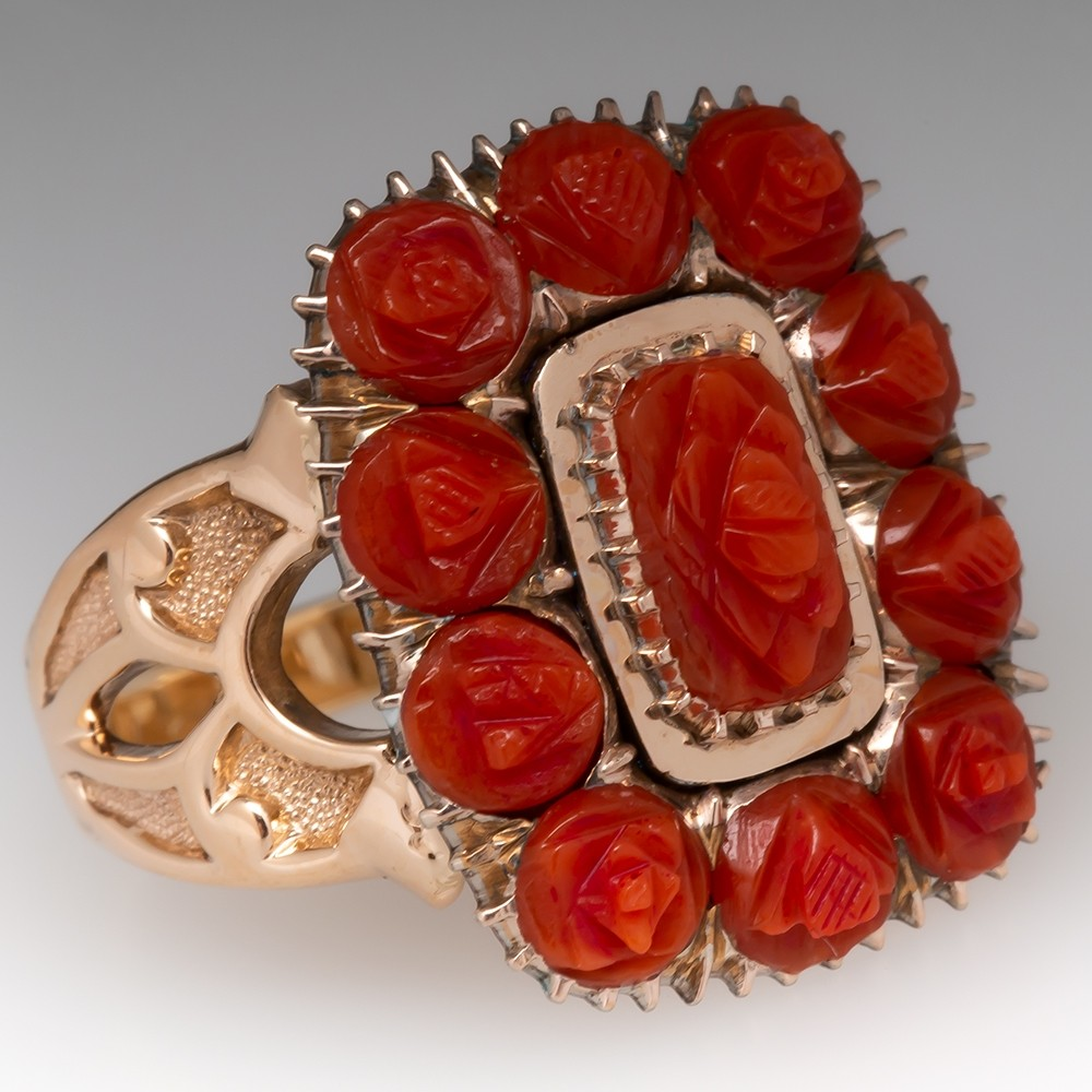 Beautiful Old Rose Coral Ring 14K Gold