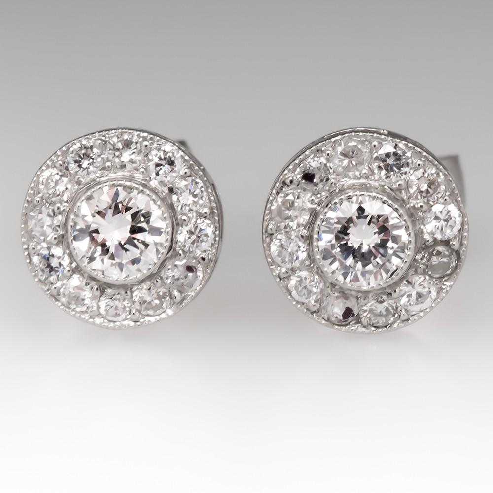 Beautiful Platinum Diamond Halo Stud Earrings