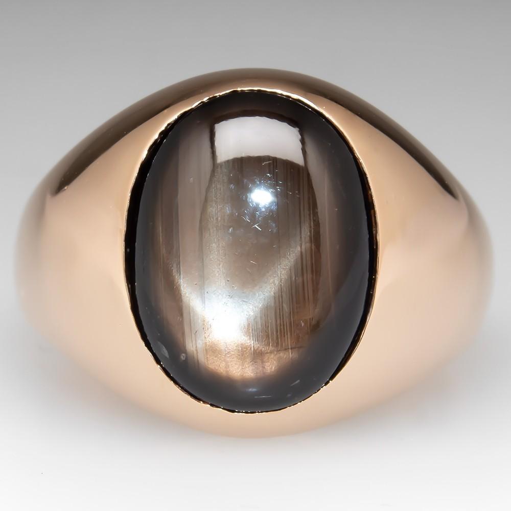 Vintage Mens Flush Set Black Star Sapphire Ring 18K Yellow Gold