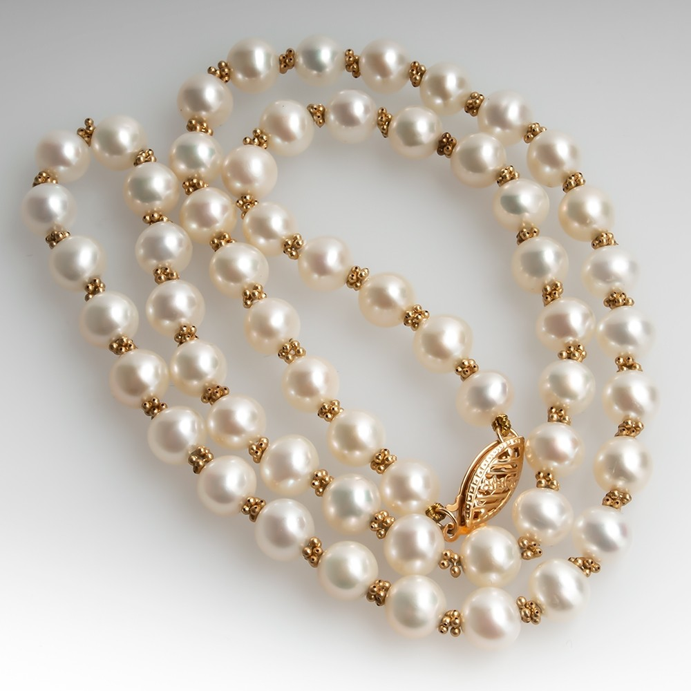 18 Inch Cultured Saltwater Pearl Bead Necklace 14K Gold Clasp