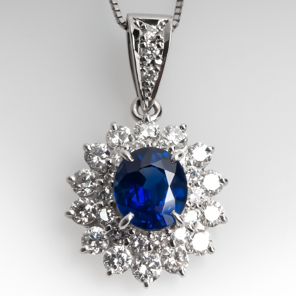 1.8CT Rich Blue Sapphire & Diamond Pendant Necklace Platinum