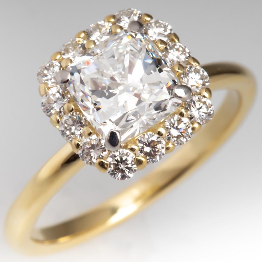 GIA E/SI1 Cushion Diamond Halo Engagement Ring 18K Gold