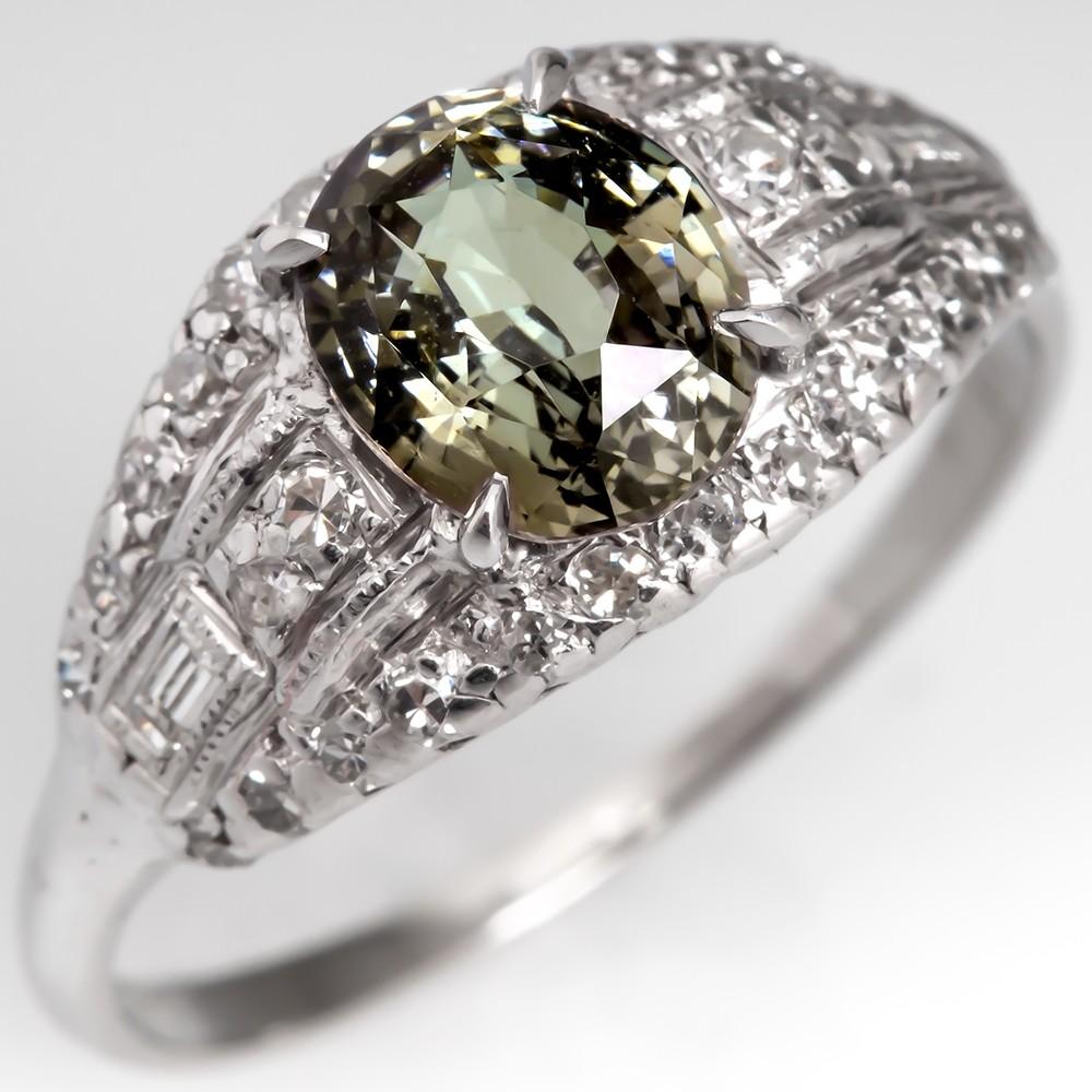 GIA Certified 1.68 Carat Untreated Alexandrite Engagement Ring Platinum