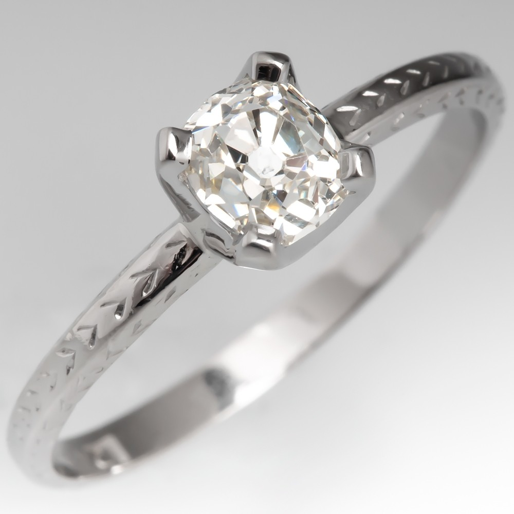 Old Mine Cut Diamond Engagement Ring 1920's Platinum Engraved Wedding Band