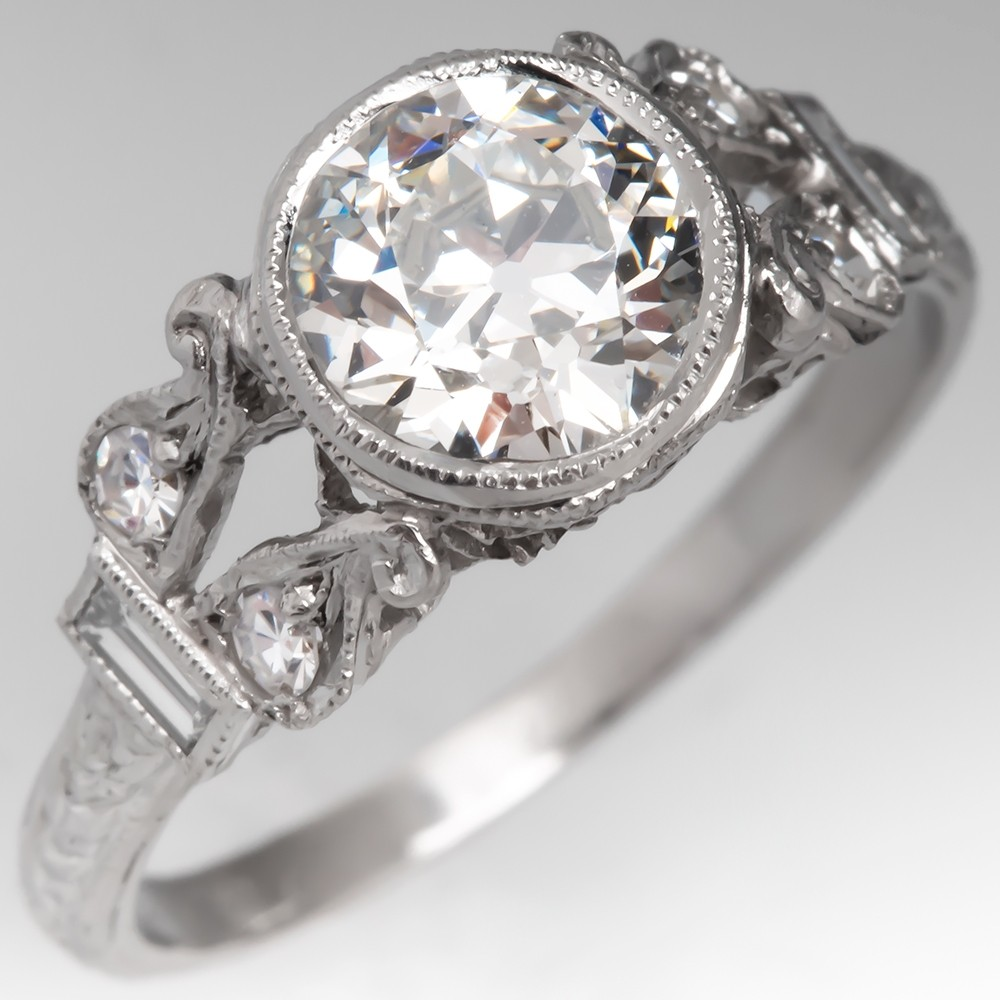 Art Deco Engagement Ring GIA Diamond Beautifully Detailed 1920's