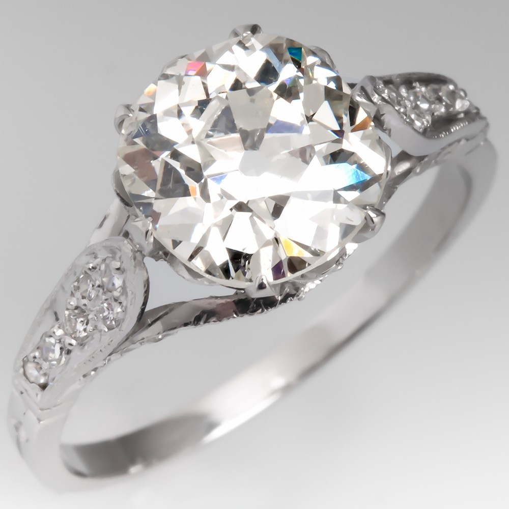 GIA 2.4 Carat Old Mine Cut Diamond Antique Engagement Ring Platinum