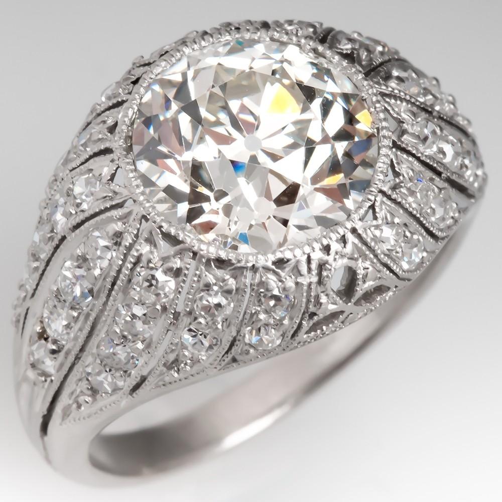 Diamond Antique Engagement Ring Platinum Domed GIA 3 Carat