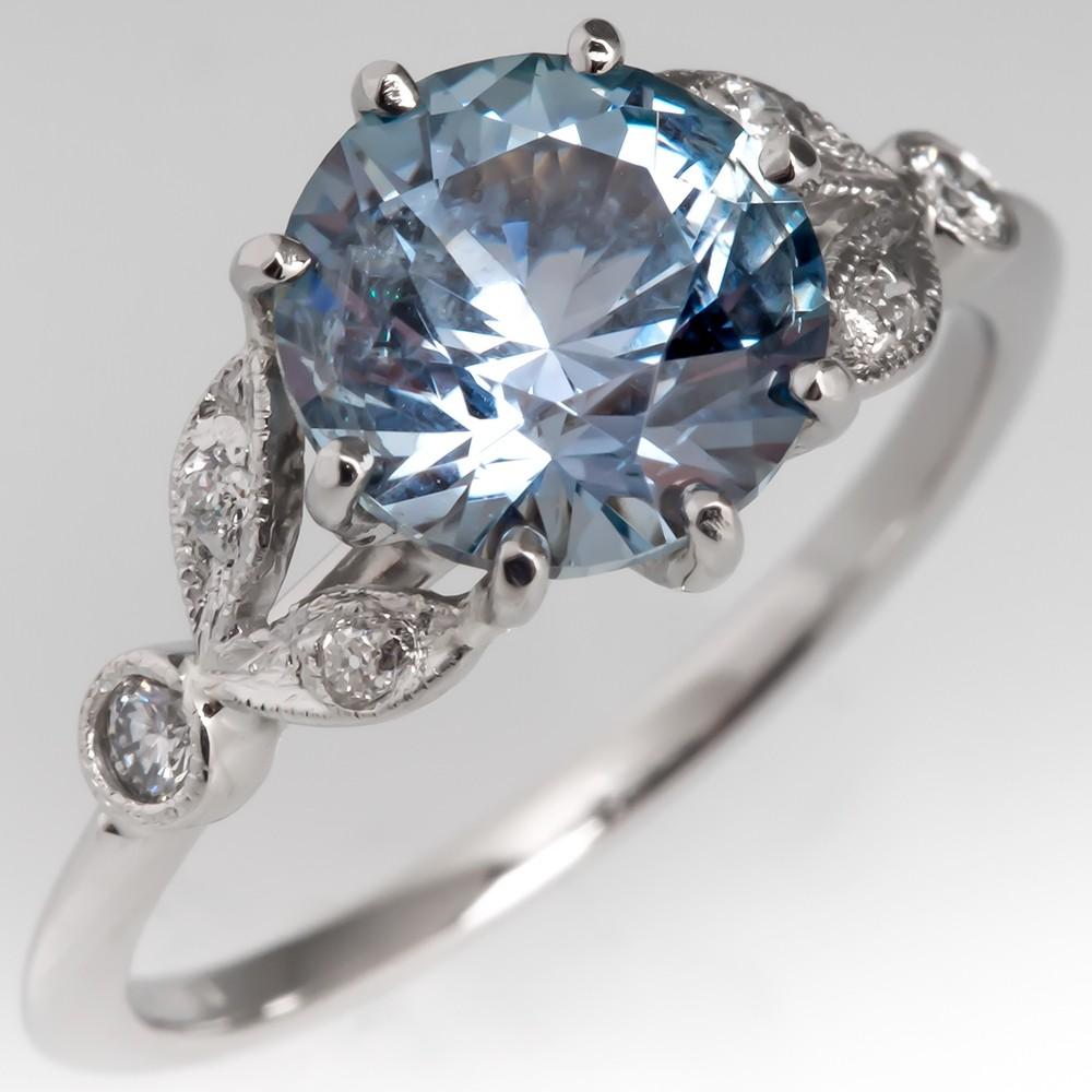 2.6 Carat Montana Sapphire & Diamond Floral Engagement Ring Platinum