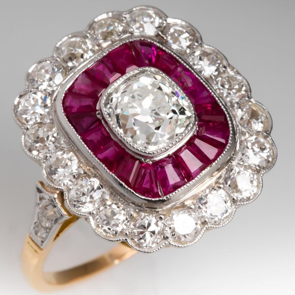 Old Mine Cut Diamond & Ruby Halo Ring 18K Gold & Platinum