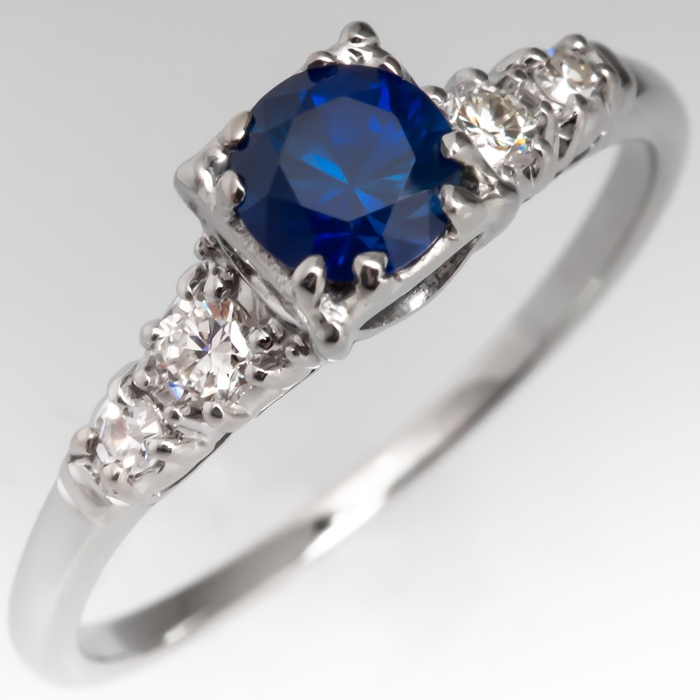 Blue Sapphire Engagement Ring w/ Diamonds 18K Vintage Jabel Mounting