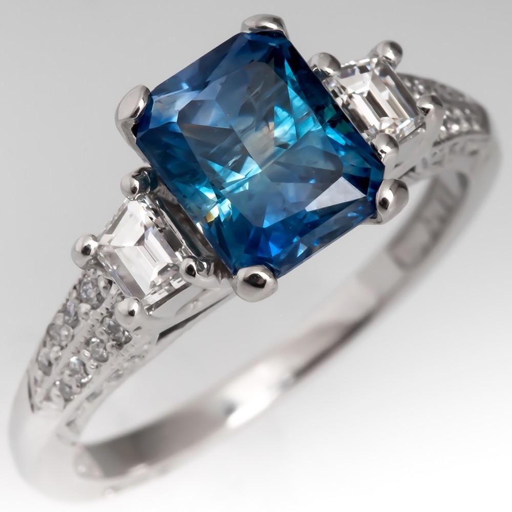 Montana Sapphire Engagement Ring Tacori Diamond Platinum Mounting