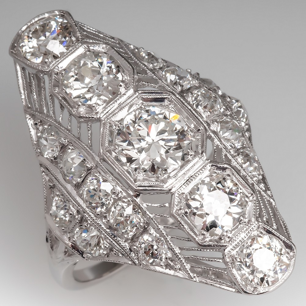 3.2 Total Carat Antique North to South Filigree Diamond Dinner Ring
