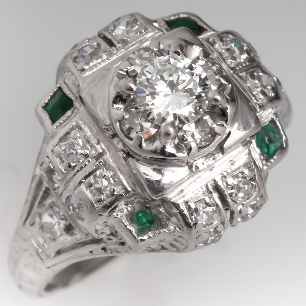 Vintage Diamond Engagement Ring w/ Emeralds Platinum Highly Detailed