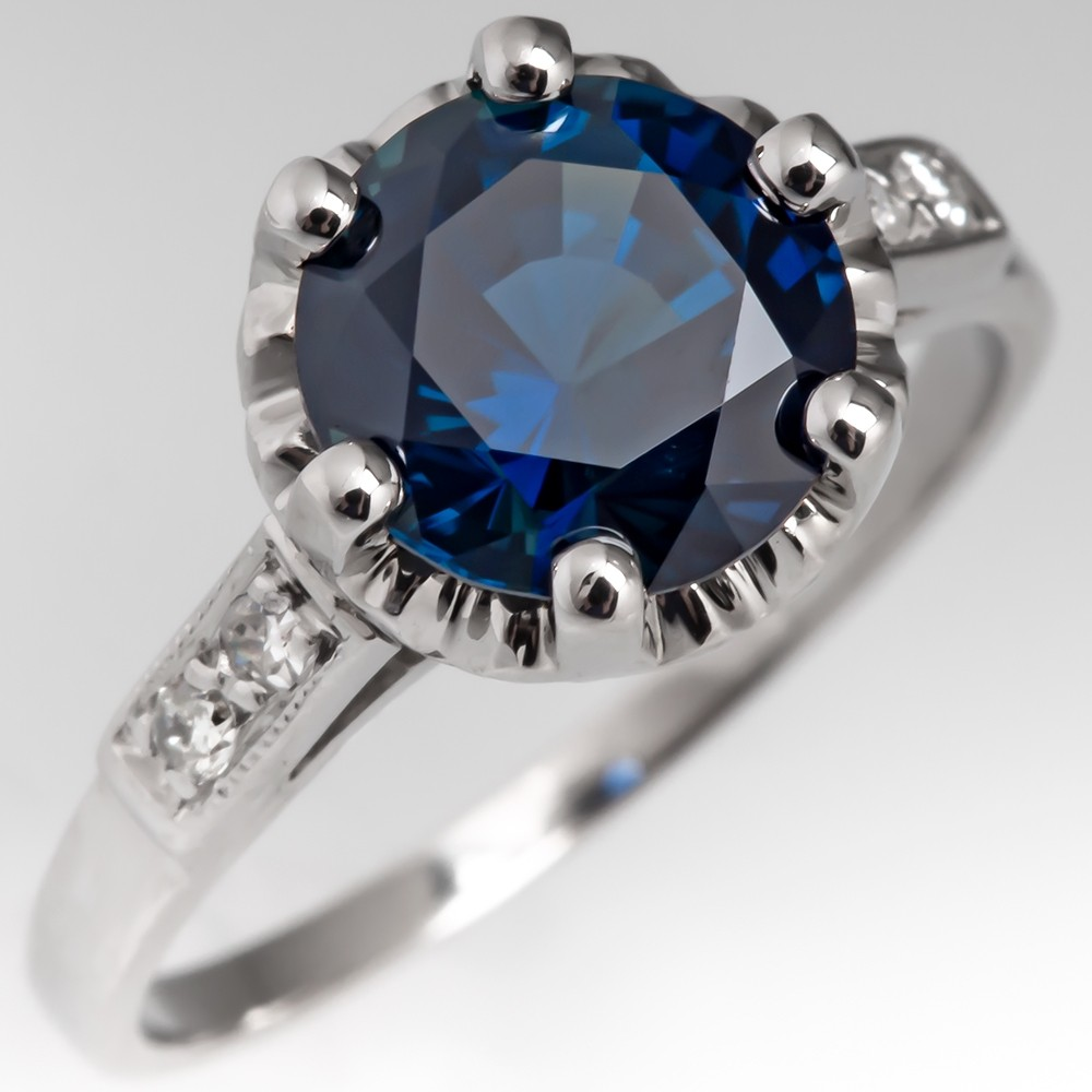 Deep Greenish Blue No Heat Sapphire Ring in Antique Platinum Mounting