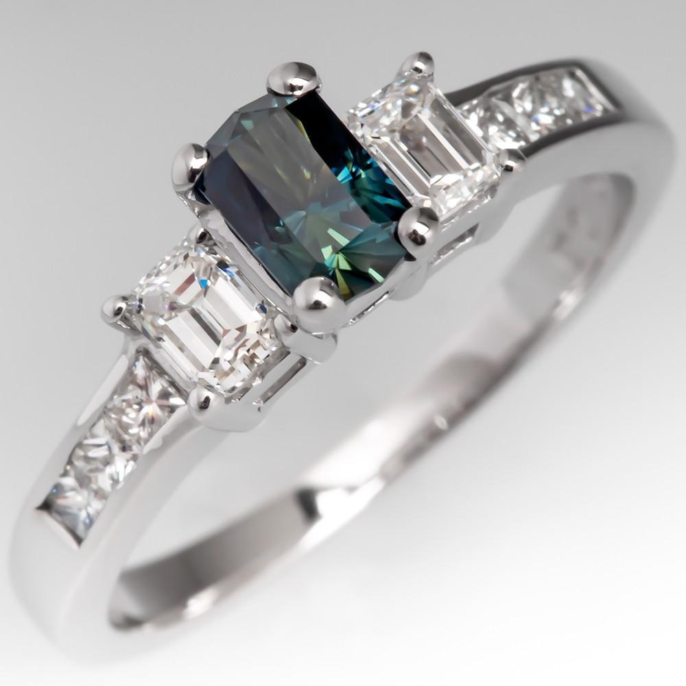 Blue Green Sapphire & Diamond Three Stone Ring 18k White Gold