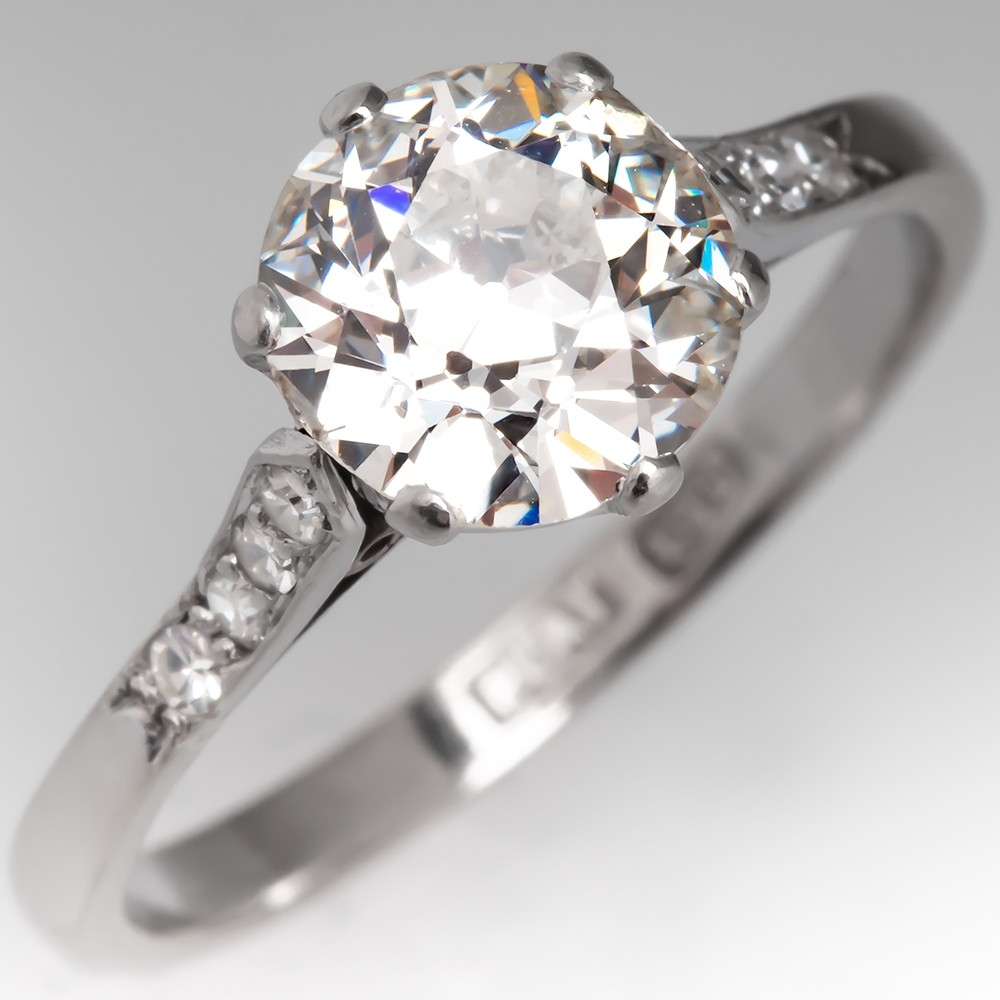 1.5 Carat Old European Cut Diamond Antique Engagement Ring